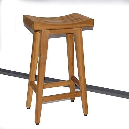 Marvelous Amazon Com Grace Seville Teak Bar Height Bar Stool Bar Creativecarmelina Interior Chair Design Creativecarmelinacom