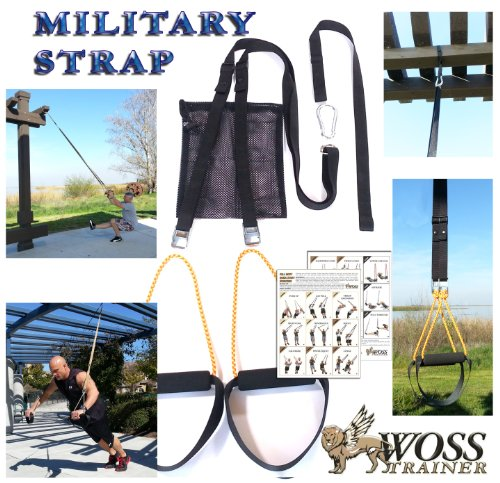 WOSS Military Strap Trainer Black, with Built-In Door Anchor, Made in USA Suspension Fitness