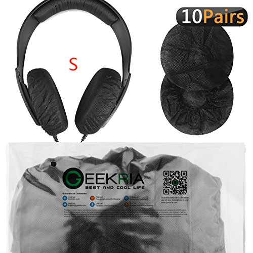 Stretchable Headphone Earpad Covers/Disposable Sanitary Earcup Fits Beats Solo, Solo2, Solo HD, Bose QC3, Sony MDR-ZX100, Sennheiser PX100, PX90 Headphones 20 pcs (10 Pairs) Black
