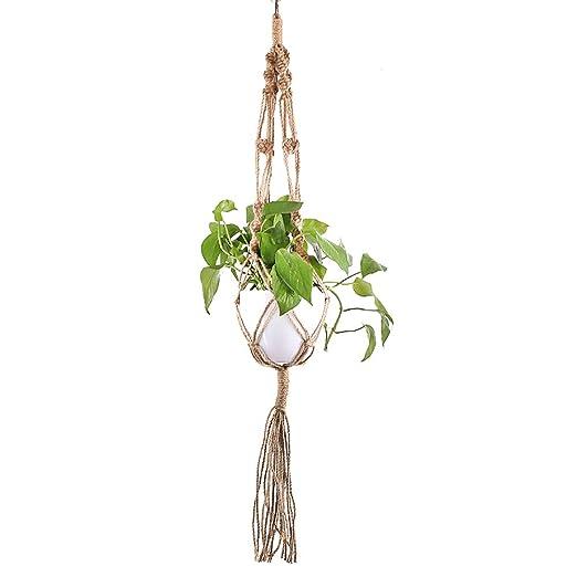 Macrame Plant Hanger, cuerda de yute Soporte para plantas de ...