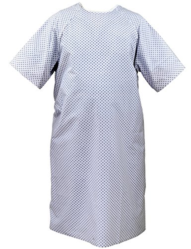 Excellent Deals Patient Gown (6 - Pack) - Unisex Hospital Gown with back ties - Fits All Sizes (Patient Tie Gown)