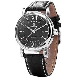 Orkina Mens Black Dial Leather Sport Date Quartz Wrist Watch Gift ORK106