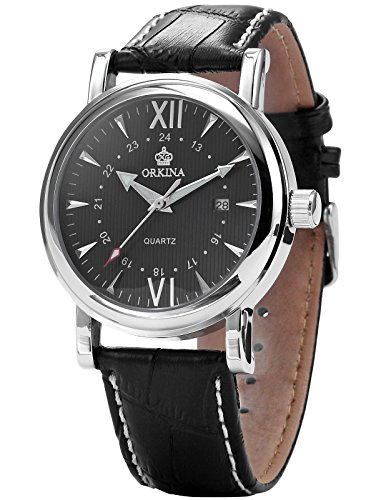 Orkina Mens Black Dial Leather Sport Date Quartz Wrist Watch Gift ORK106