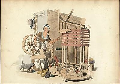England Worceted Winder Weaving Loom 1805 antique hand color aquatint print