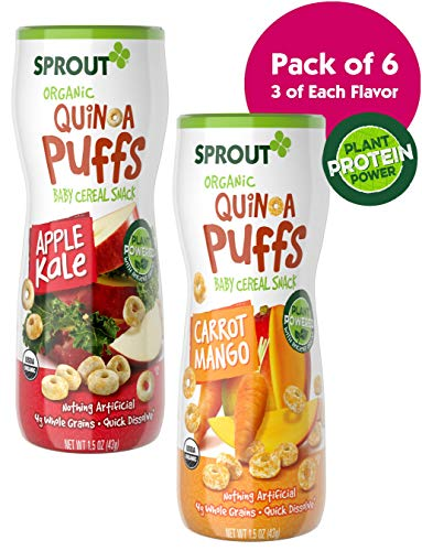 (Sprout Organic Quinoa Puffs Baby Snacks, Variety Pack, 1.5 Ounce Canister (Pack of 6) 3 of Each: Carrot Mango & Apple Kale)