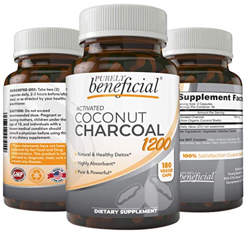 (Organic Activated Coconut Charcoal 1200mg, 180 Capsules Pills for Digestive System, Bloating, Prevent Hangovers, Detoxification, Teeth Whitening )