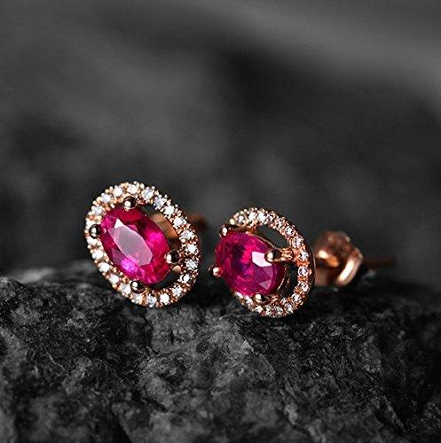 Gowe Forme ovale véritable Pierre précieuse de rubis 1.0CT Certifié Rubis Boucles d'oreille à tige avec diamant 0,15CT Or rose 18K (Au750)