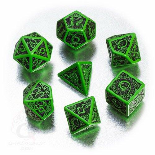 Q-Workshop Polyhedral 7-Die Set: Celtic 3D GREEN & Black Dice Set!