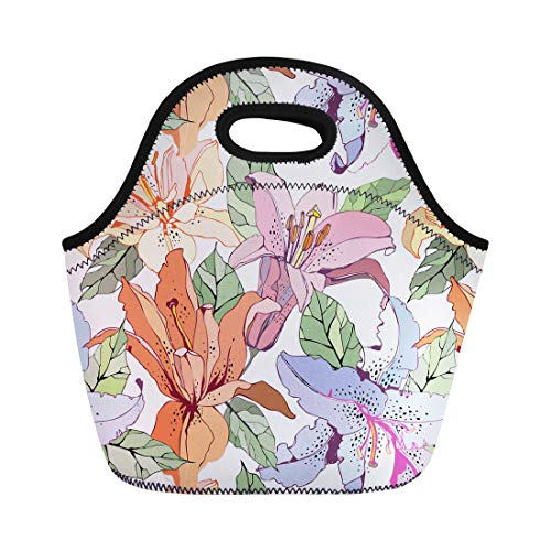 (Semtomn Lunch Bags Pattern Orange Flower Lily Pink Floral Drawing Summer Nature Neoprene Lunch Bag Lunchbox Tote Bag Portable Picnic Bag Cooler Bag)