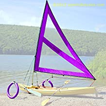 Serenity Upwind Kayak Sail and Canoe Sail Kit (Purple). Complete with Telescoping Mast, Boom, Outriggers, Lee Boards, All Rigging Included! Compact, Portable, Easy to Set up - Makes a great gift !