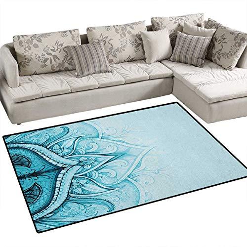 Mandala, alfombra con patrón de gato con antiguas cifras redondas caleidoscópicas con orígenes de cultura asiática,...