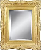 4'' Gold Ornate Baroque French Style Framed Beveled Wall Mirror (24x36 Inch)