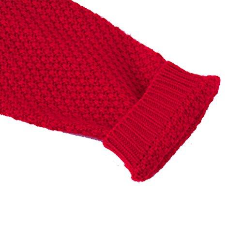 Long Pull Oudan Rouge En Manches Cardigan Casual Maille Femmes Sweater Elegant Chandail Longues Tricot Rétro dWnq6Xq4