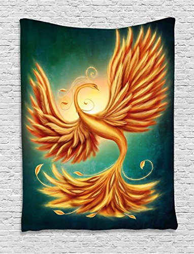 (Ambesonne Modern Decor Tapestry by, Phoenix Magical Charming Bird Feathers with Alluring Swirls Artwork, Wall Hanging for Bedroom Living Room Dorm, 40WX60L Inches, Marigold and Emerald )