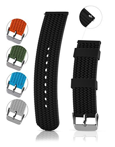 Silicone Replacement Watch Band - Quick Release Soft Rubber Strap - Waterproof, Textured Tire Pattern - Black, 22mm (Soft 22 Mm Rubber)