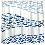 Fabric Shower Curtains with Fish Sunlit Design Blue Fish School Fabric Shower Curtain, Cartoon Fishes Bathroom Decor Curtain, Blue