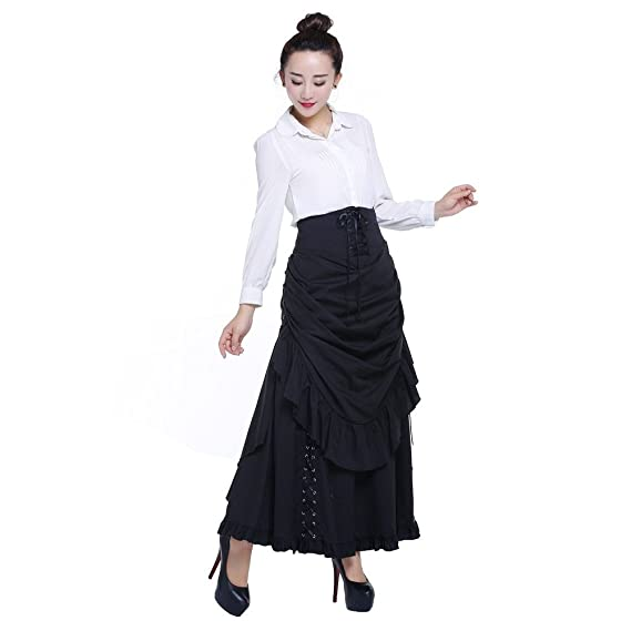 78545572598 Chic Star Cotton Gothic Burlesque 3 Way Lace Up Skirts Black Sizes 6 ...