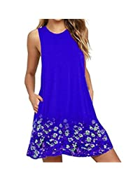 hujukuludusu Women's Plus Size Sleeveless Floral Print Pocket Loose Swing Tank Dress