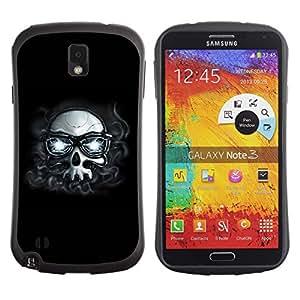 LASTONE PHONE CASE / Suave Silicona Caso Carcasa de Caucho Funda para Samsung Note 3 N9000 N9002 N9005 / Hipster Skull With Glasses