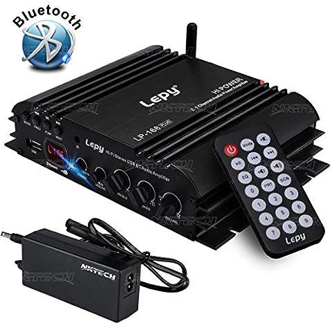 NKTECH 3A Power Supply Lepy LP-168 Plus Bluetooth 2.1 Channel IR 2x 45W 1x 68W Hi-Fi Digital Stereo Bass Audio USB MP3 MP4 DVD Car Amplifier With (Crossover 8 Ohm Speaker 2 Ohm)