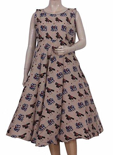 a43feebe394 Glitters Cream Kalamkari Umbrella Cut Frock Cotton  Amazon.in ...