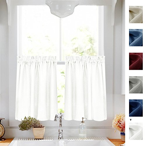 Sheer Kitchen Curtain (Privacy Thick Tiers Kitchen Curtains Semi-Sheer Cafe Curtains Casual Weave Textured Half Window Curtain Drapes (72-inch x 36-inch, White, 2 pcs))