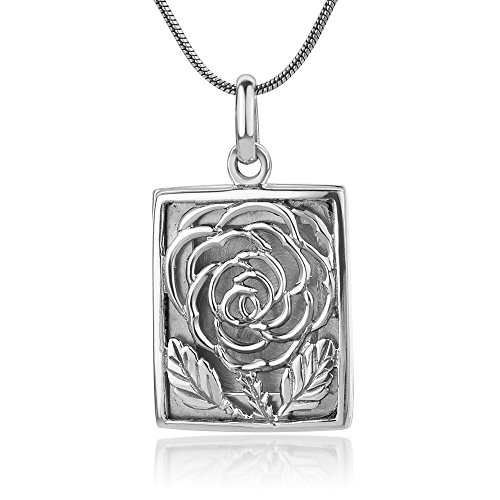 "925 Sterling Silver Open Filigree Rose Flower Vintage Design Square Locket Pendant Necklace, 18"" - Open Filigree Designer Pendant Charm"