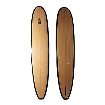 HONU Longboard 96, Acabado bambú, Larga Tabla Retro + 3 derivas