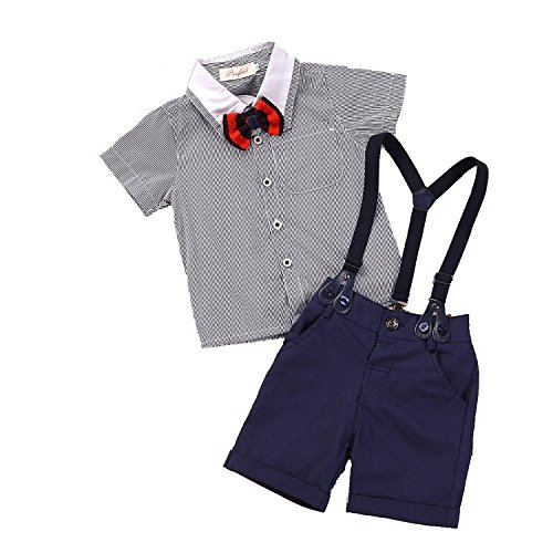 Toddler Baby Boys Plaids Shirt + Suspenders Pants Set Clothes Outfits 2-3Years Grey