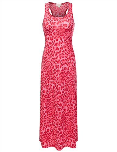DRESSIS Women's Leopard Racerback Scoop Neck Sleeveless Maxi Tank Dress FUCHSIA S
