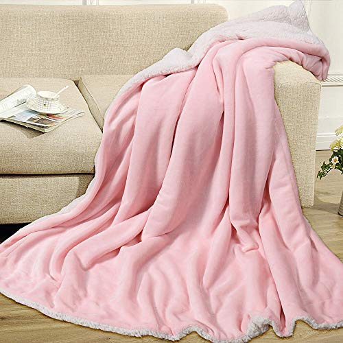 EMME Sherpa Fleece Blanket Fuzzy Extra Soft Bed Blanket Warm Cozy Reversible Strong Heat Storage for Couch Nap Bed Throw (Pink)