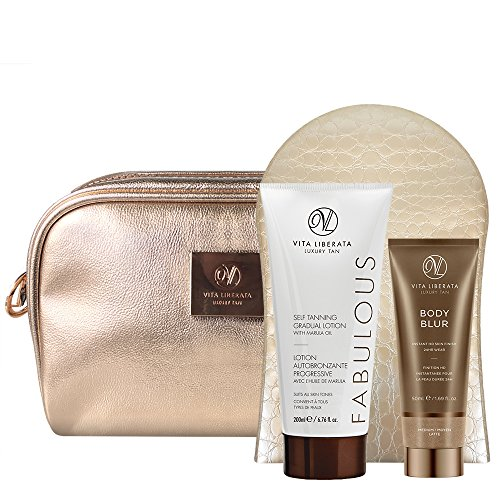 Vita Liberata Self Tan Gift Bag with Gradual Tan Lotion and Body Blur HD Skin Finish - Fabulously Flawless 3-piece Gift Set - 3 Piece Tanning Set