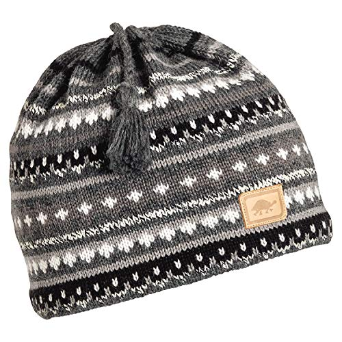 Turtle Fur S'More Women's Wool Knit Classic Ski Hat Tassel Beanie Charcoal Heather ()