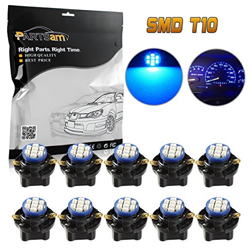 Partsam 10pcs PC194 T10 Blue LED Bulbs Instrument Dashboard Lights 8-Epistar-3020-SMD With Sockets 5/8 Inch 16mm Hole - Ambassador Dashboard
