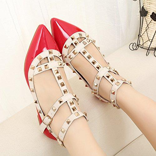 unique RUGAI talon fait femme Rivet Fond plat chaussures UE profondes plat chaussures gules peu CrwCpqg