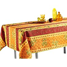 "63-Inch Round Tablecloth Orange Rustic Olive, Stain Resistant, Washable, Liquid Spills, Seats 10 to 12 People (Other Size: 63"" Round, 60 x 80"", 60 x 95"")"
