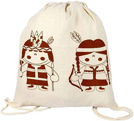 Bolsa Mochila Infantil con simpático diseño Indios. Lote 12 Unidades. Algodón.Detalles Infantiles para Eventos, cumpleaños: Amazon.es: Deportes y aire libre