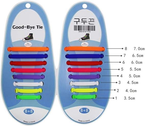 Balight Lacets de Chaussure sans Lien en Silicone Extensible pour Enfants et Adultes 13 Couleurs
