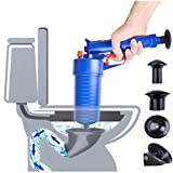 High Pressure Air Power Drain Blaster gun,PERTTY Cleaner Unclogs Toilet Pump Hand Powered Plunger Set for Bath Toilets, Bathroom, Shower, kitchen Clogged Pipe Bathtub(Blue)