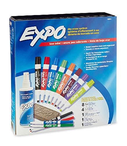 15 Piece Kit - Low Odor Dry Erase Marker, Eraser and Cleaner Set, Assorted Colors