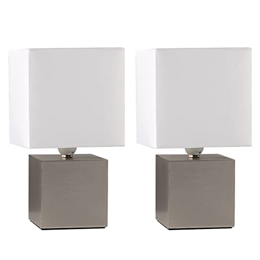bedside table lamps. Pair Of - Modern Brushed Chrome Cube Design Touch Dimmer Bedside Table Lamps With A White