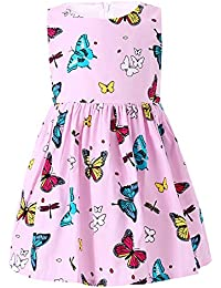 Little Girls Dress Butterfly Swing Party Summer Cotton Dresses For Baby Toddler