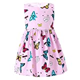 SMILING PINKER Little Girls Dress Butterfly Swing Party Summer Cotton Dresses for Baby Toddler (Pink, 3-4t)