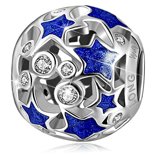 - Long Way 925 Sterling Silver Openwork Blue Star Crystal Cubic Zirconia Charm Bead for Bracelet and Necklace