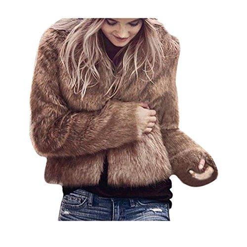 2017 Grande Taille Hiver Chaud Manteau Court Fourrure Manche longue Longra Femme Ado Chic Outerwear Jacket Doux pais Confortable Trench Femme Pas Cher Marron