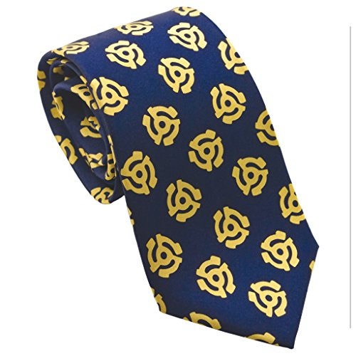 Josh Bach Men's 45 Adapter Music Silk Necktie Blue, Made in USA