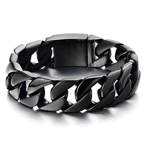 COOLSTEELANDBEYOND Mens Masculine Stainless Steel Black Large Curb Chain Link - Large Curb Chain