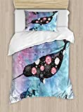 Ambesonne Narwhal Duvet Cover Set Twin Size, Floral Patterned Narwhal Whale and Fish Psychedelic with Abstract Art Inspirations, Decorative 2 Piece Bedding Set with 1 Pillow Sham, Multicolor