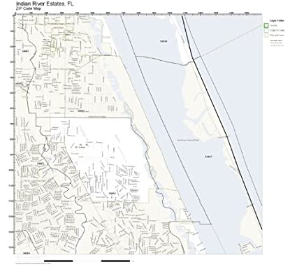 Indian River Florida Map.Amazon Com Zip Code Wall Map Of Indian River Estates Fl Zip Code
