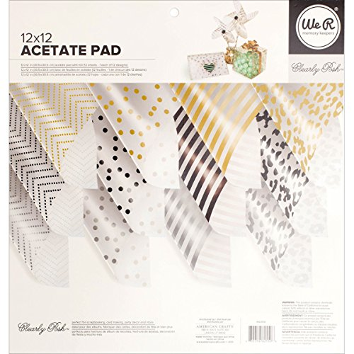 - 12 x 12-inch Clearly Posh Acetate Pad by We R Memory Keepers | Multi-Colored Foil Accents | Includes 12 12 x 12-inch sheets in 12 different designs